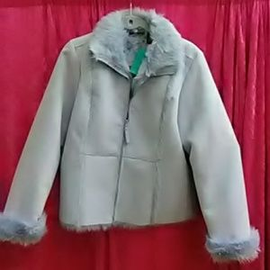 Suede and faux fur jacket